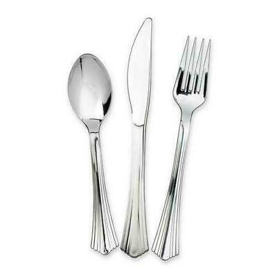 New 48 Pack Disposable Silver Plastic Metallic Cutlery Set Party Forks Spoons