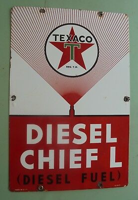 Vintage Texaco Diesel Chief L porcelain gas pump sign can seed US 47 deere ford