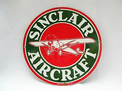 """Ande Rooney SINCLAIR AIRCRAFT Porcelain Enameled Advertising Sign 11-1/4"""""""
