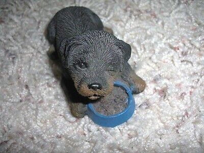 Rottweiler Winking Puppy Figure Figurine with Food Bowl by Sandicast