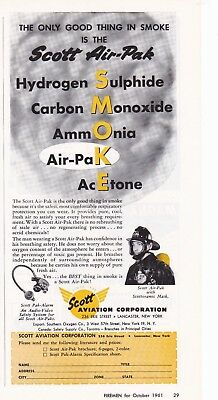 Scott Air Pak  Made To Fight Smoke   1961  Ad              7164