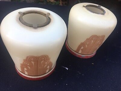 rare antique Art Deco pair of Waterfall lamp shades -painted & metal ring