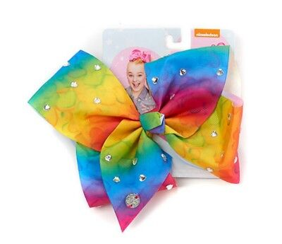 NWT AUTHENTIC JoJo Siwa LARGE RAINBOW WATERCOLOR BOW with CRYSTAL HEART ACCENTS