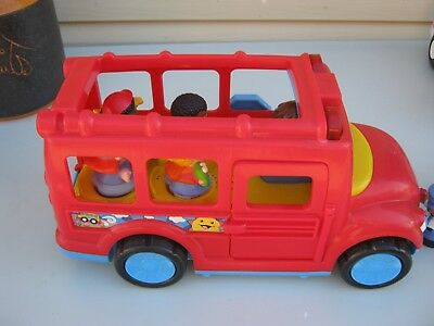original fisher price little people big red bus model  dolls with extra figures