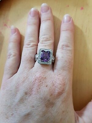 Ladies Sterling Silver Ring, Large Purple colour stone, white stone, brand new