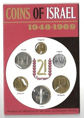 Israel 1969 Jerusalem Specimen Issue Coin Set In Original Sealed Packaging