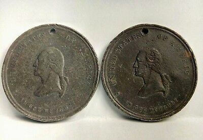 PAIR of 1889 George Washington Inauguration Centennial Medals 51& 51b rare r8