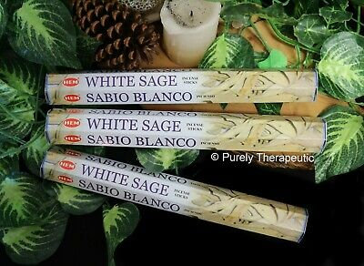 WHITE SAGE INCENSE STICKS~Hem Hexagonal Pack of 20 Sticks x3 Wicca Smudge Pagan
