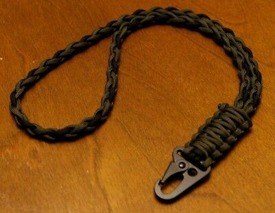 550 Paracord Neck Lanyard / Keychain / Olive Drab & Black / HK Style Clip