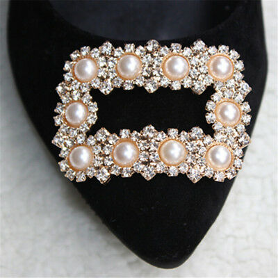 1PC Square Women Shoe Decoration Clip Crystal Pearl Shoes Buckle Wedding DecorJD