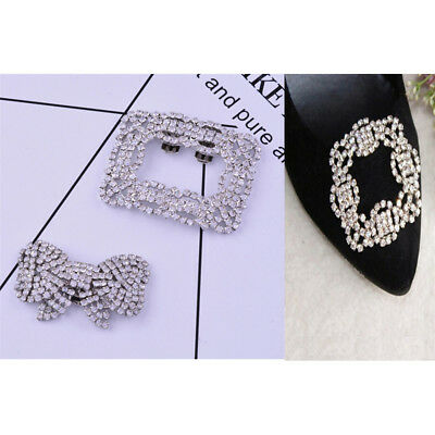 1x Women Shoe Decoration Clips Crystal Metal Shoes Buckle Bridal Wedding DecorJD