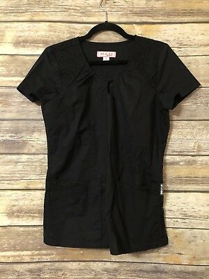 Koi by Kathy Peterson Uniform Scrub Top Black Small