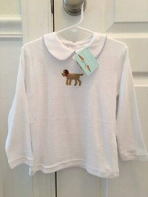 NWT boys Little English crochet puppy dog pima cotton collared shirt, size 3T