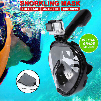 Full Face Snorkeling Snorkel Mask Diving Goggles W/ Breather Pipe For GoPro New