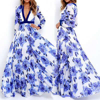 AU Women V Neck Boho Floral Dress Beach Evening Cocktail Party Maxi Long Dresses