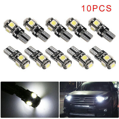10x 5-SMD LED T10 Lampe weiß CANBUS Standlicht Innenraum Glassockel 12V 【DE】