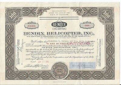 Stratford Connecticut: Bendix Helicopter stock certificate June 11 1945 aviation