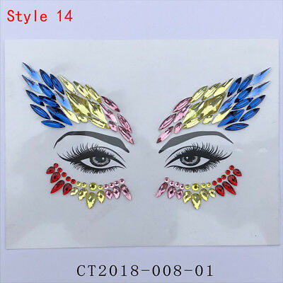 Body Adhesive Glitter Stickers Tattoo Face Gems Rhinestone Jewels For Party Hot