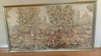 Antique Tapestry French 18th Century Gold Framed Non Reflective Glass
