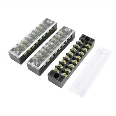 3 Pcs 600V 15A 8 Positions Dual Rows Covered Barrier Screw Terminal Block Stri B