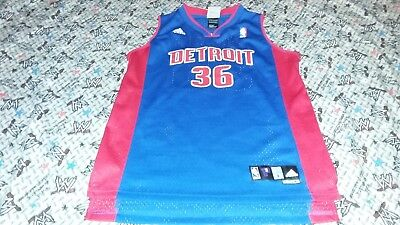 New YOUTH L Vintage Authentic Sewn Adidas RASHEED WALLACE Detroit Pistons  Jersey e815f2766