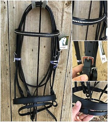 New Showcraft black full size diamonte hanoverian bridle with reins