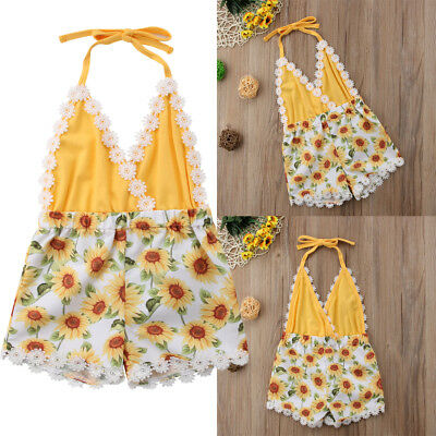 Newborn Baby Girl Floral Strap Romper Backless Bodysuit Summer Clothes Outfit