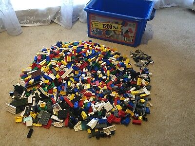 Over 1,000 Pieces Of Lego + Other Bits And Pieces-Proper Lego Brand-Tub Included