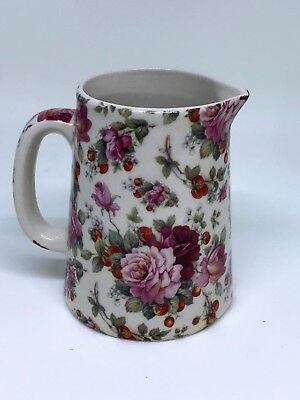 BN Cream Pottery Strawberry Floral Chintz Style Pitcher Jug, Very Small Milk Jug