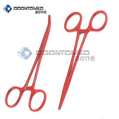 """2 Mosquito Hemostat Forceps 5"""" (Str & Cvd) Red Color Surgical Instrument"""