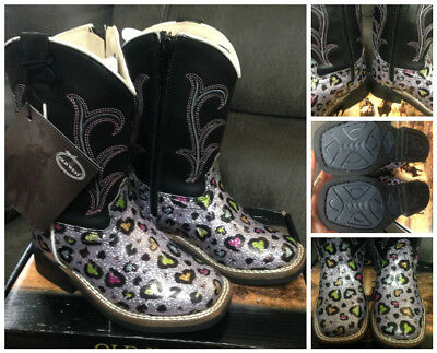 New Old west gorgeous glitter hearts toddlers sz 4.5 boots