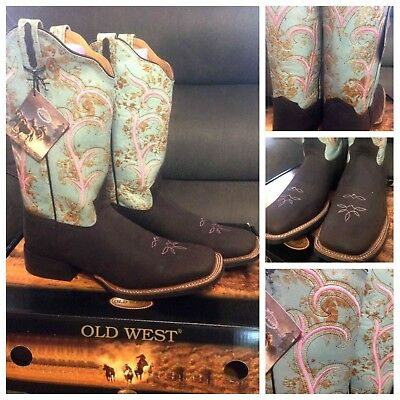 New Old West Turquoise & Brown Speckle square toe western boot. Sz 9.5