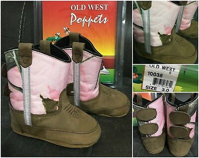 New Old West Poppets baby girls pink camo boots, infants sz 3