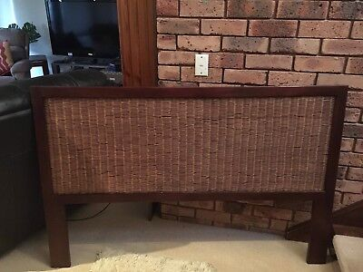 Wicker and Timber bedhead for Queen bed