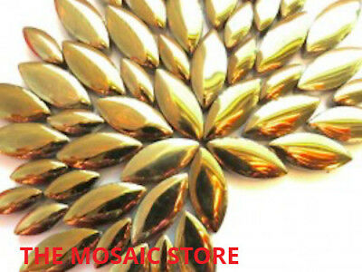 Gold Ceramic Petals - Mosaic Art & Craft Supplies Tiles