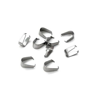 50 x Stainless Steel 8mm x 3mm Pendant Pinch Bails