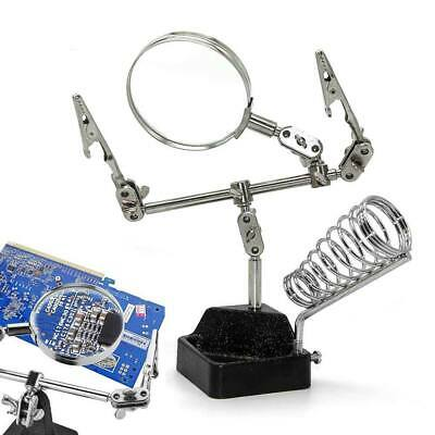 Magnifier 2.5x Magnifying Glass Third Hand Soldering Iron Stand Clamp Vise Clip