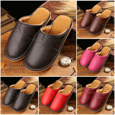 Fur Slip Leather Cow Shoes Toe Warm Winter Flats Mens Close Lining Indoor Home