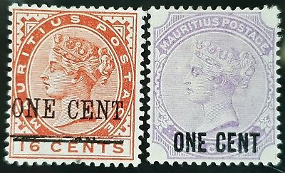 Mauritius 1893 Victoria Sc # 89 and Sc # 90 Mint Overprint Stamps