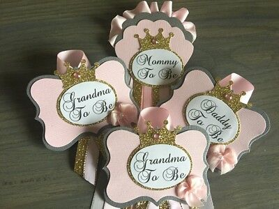 Mommy ,Daddy, 2 Grandma to Be Princess Grey, Pink, Gold, Crown, Baby Shower pin,