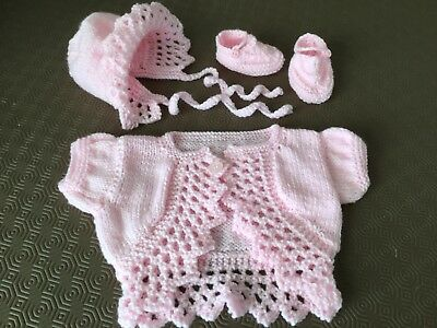 Beautiful New Hand Knitted Baby Set Cardi Bonnet And Shoes 3-6 Months