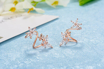 Clip Cuff Earrings 925 Silver Marquise Zircon Butterfly Flower Ear