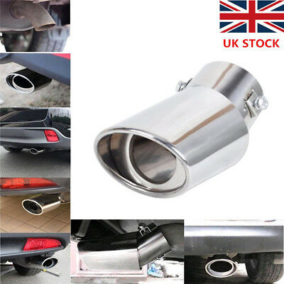 Universal Car Stainless Steel Chrome Fits Curved Exhaust Tail Muffler Tip Pipe