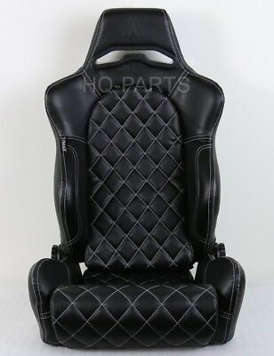 1X Tanaka Universal Black Pvc Leather Racing Seat Dual Recliner + Diamond Stitch