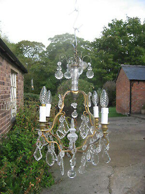 Crystal four branch antique birdcage french chandelier vintage c crystal four branch antique birdcage french chandelier vintage c 1940 3992 aloadofball