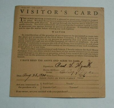 Vintage 1930 Ford Motor Company Plant Visitor's Card Auto / Car
