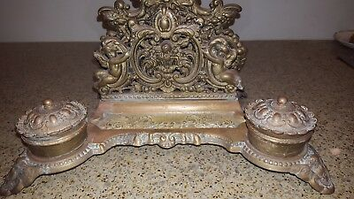 Antique Ornate Brass Double Ink well with letter and pen holder