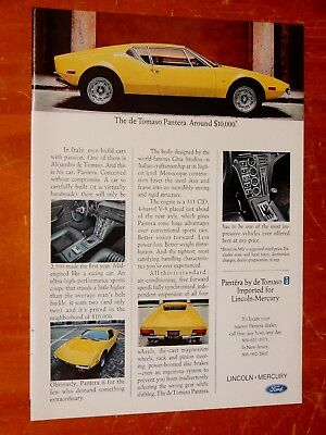 Yellow 1972 De Tomaso Pantera Vintage Ford Ad / Retro 70S Exotic Italian Car