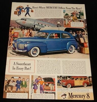 1941 Mercury 8 Coupe & Woody With Dc-3 Twa Plane Ad + Life Mag Cover On Backside