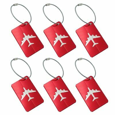 Aluminum Alloy Luggage Tags Baggage Suitcases Labels Shape Red, 6 Pack A3X9